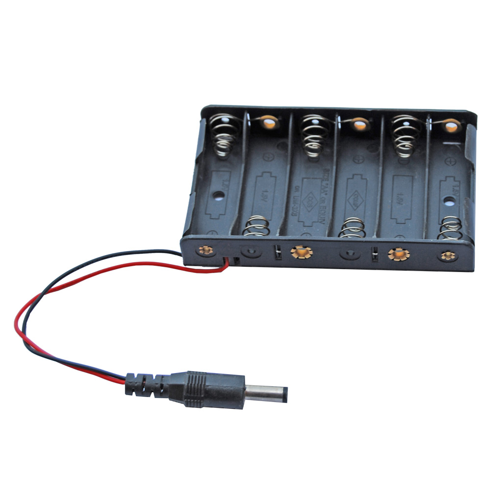 Battery Holder 6 AA with DC Jack